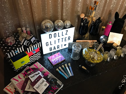 Glitter makeup and hair pop up salon
